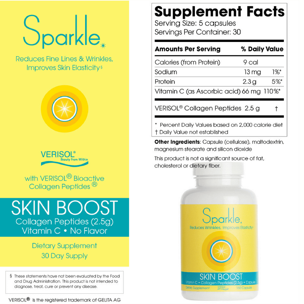 Sparkle Collagen Peptides 150 caps- Skin Boost For Joint Stiffness & Anti-Aging Benefits