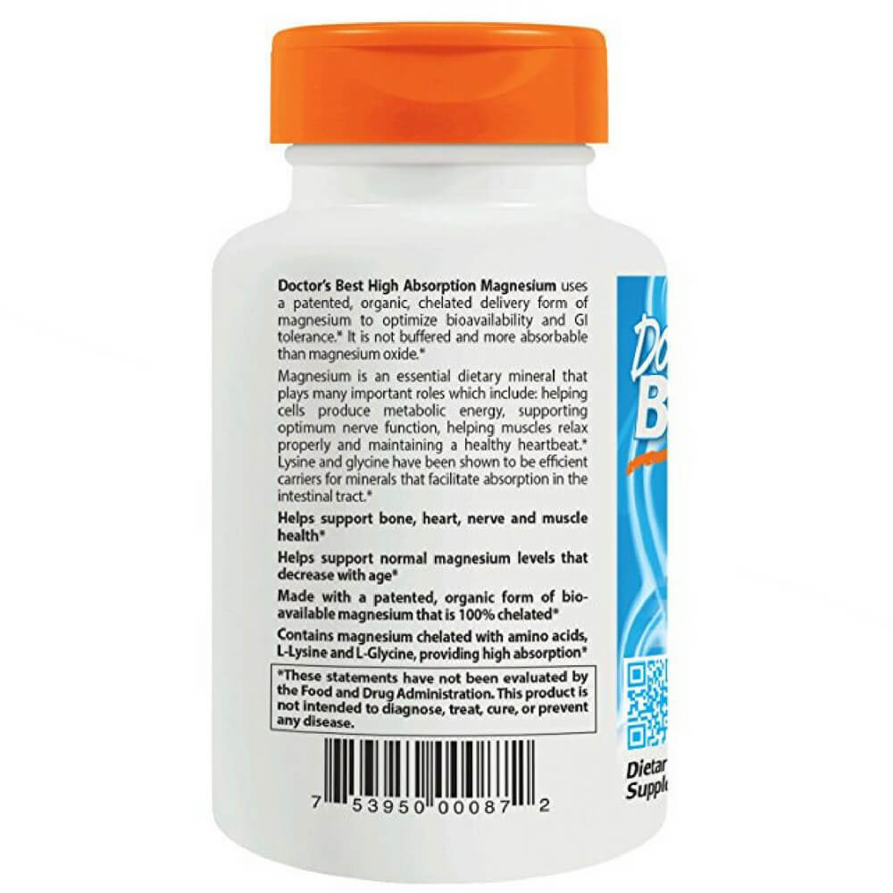 Doctor's Best 240 tab Magnesium 100mg High Absorption for Healthy Muscle Contraction, Relaxation, and Nerve Transmission